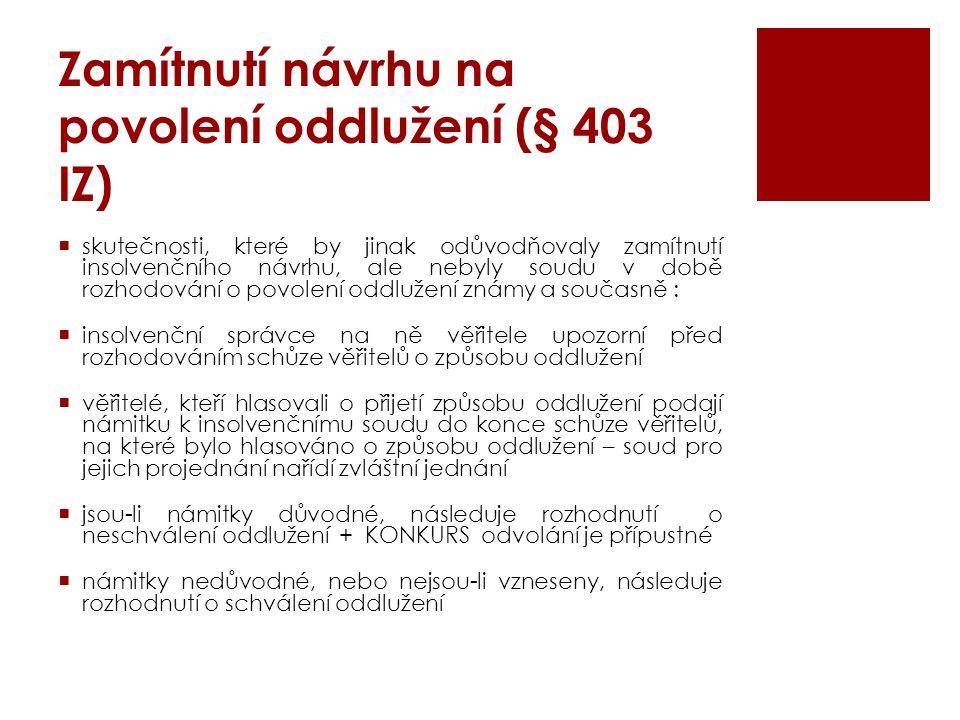 Zamítnutí návrhu na povolení oddlužení (§ 403 IZ)