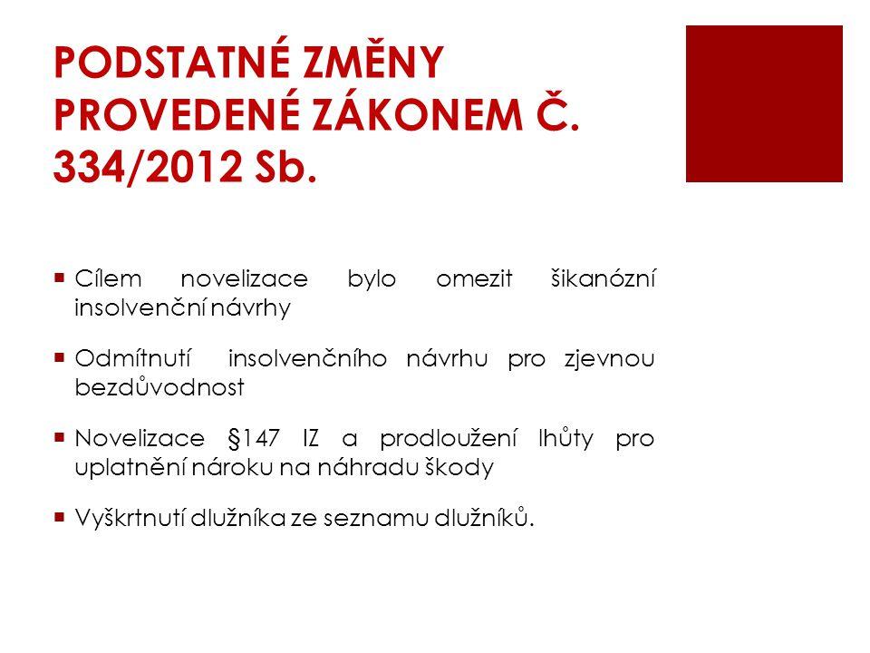 PODSTATNÉ ZMĚNY PROVEDENÉ ZÁKONEM Č. 334/2012 Sb.