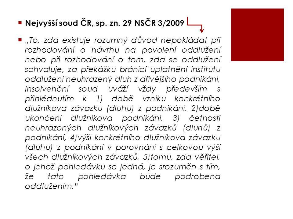 Nejvyšší soud ČR, sp. zn. 29 NSČR 3/2009