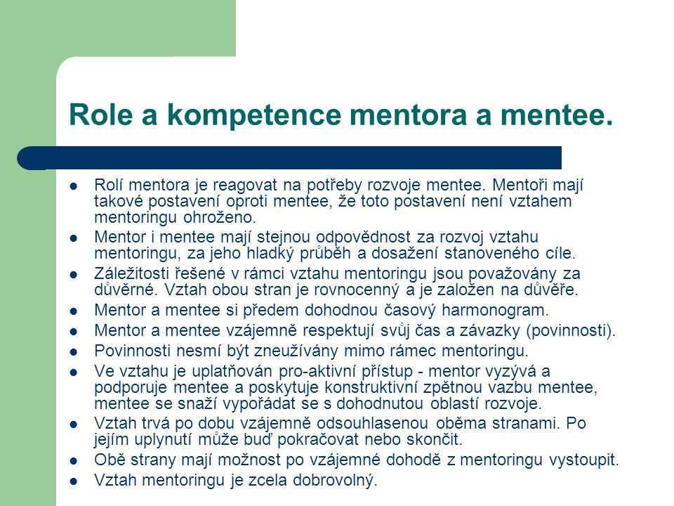 Role a kompetence mentora a mentee.
