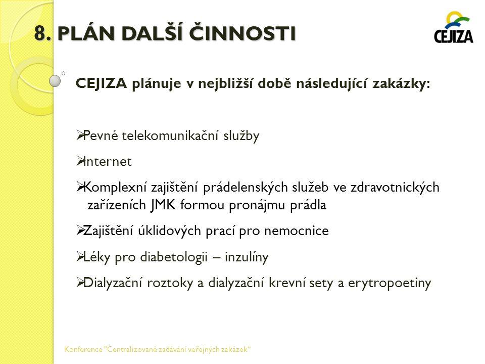 8. PLÁN DALŠÍ ČINNOSTI CEJIZA plánuje v nejbližší době následující zakázky: Pevné telekomunikační služby.