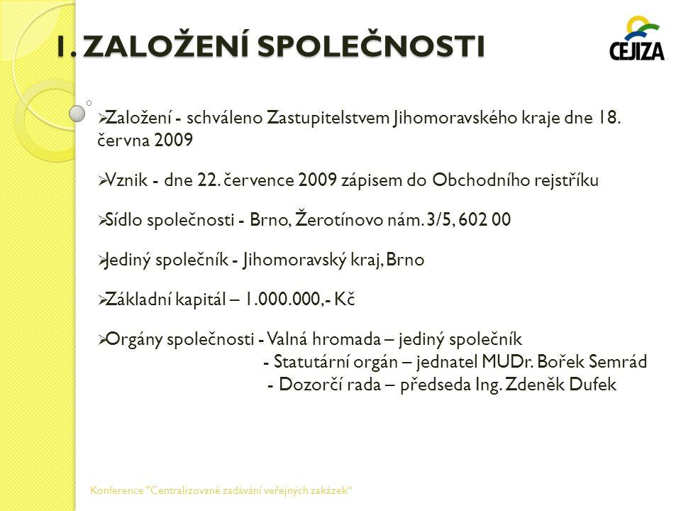 1. ZALOŽENÍ SPOLEČNOSTI Založení - schváleno Zastupitelstvem Jihomoravského kraje dne 18. června 2009.