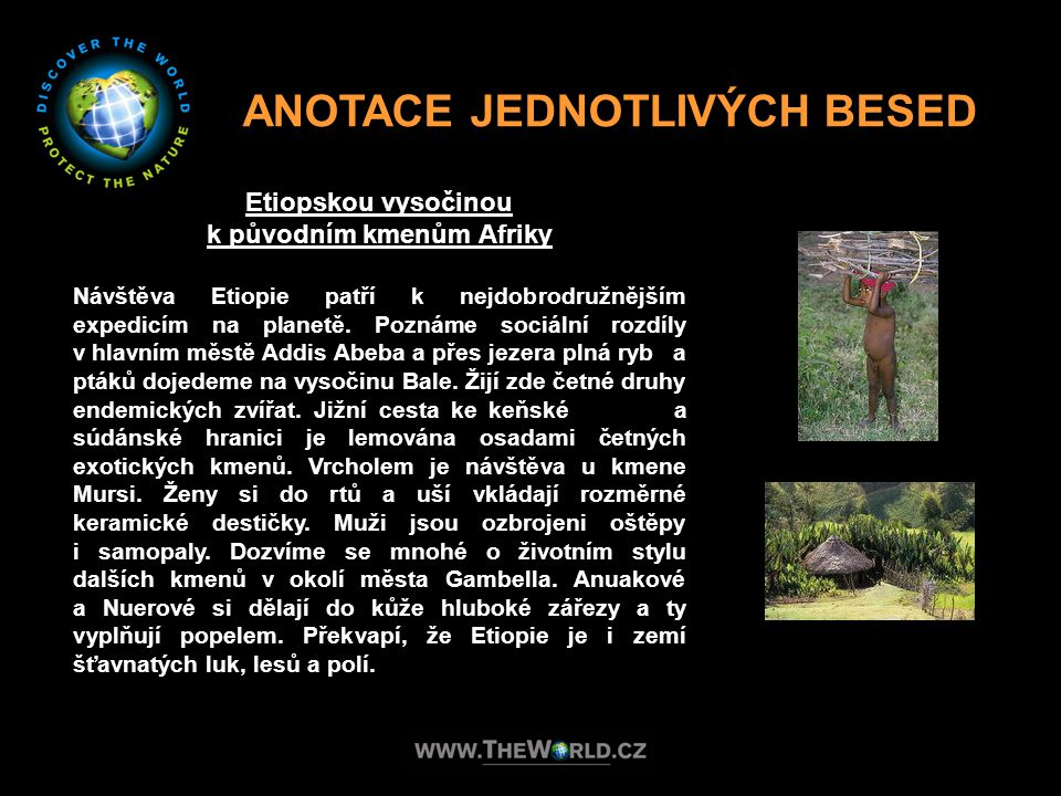 ANOTACE JEDNOTLIVÝCH BESED k původním kmenům Afriky