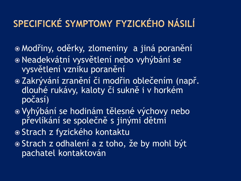 Specifické symptomy fyzického násilí