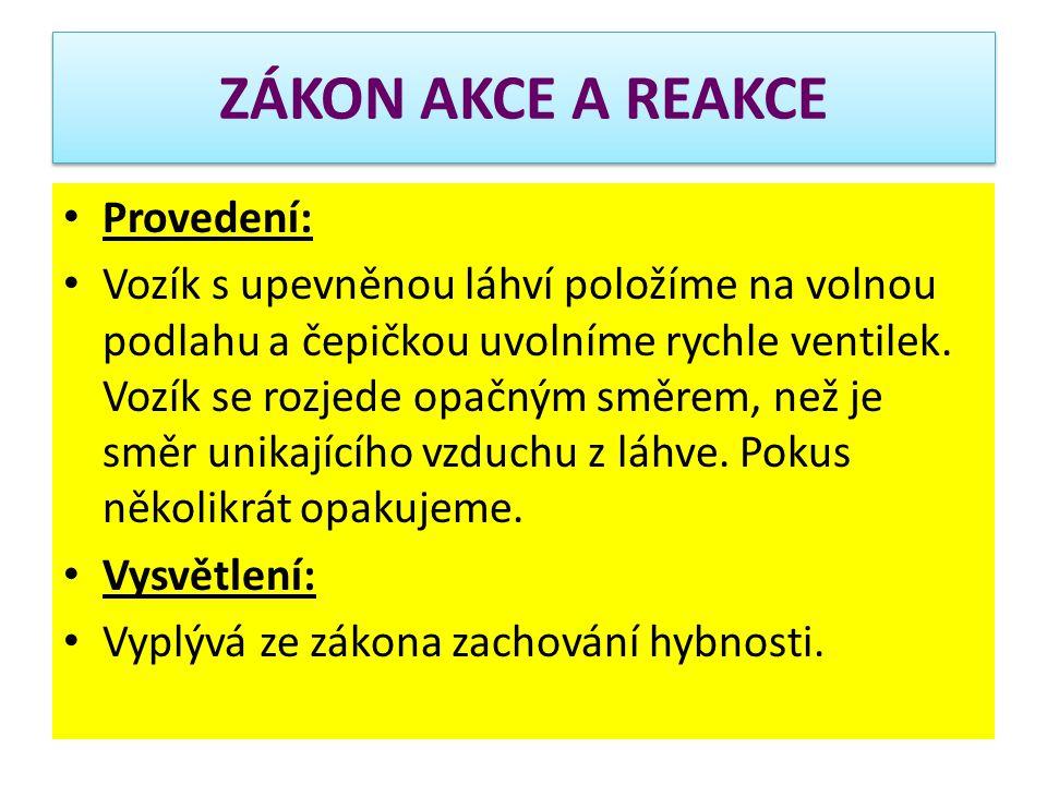 ZÁKON AKCE A REAKCE Provedení: