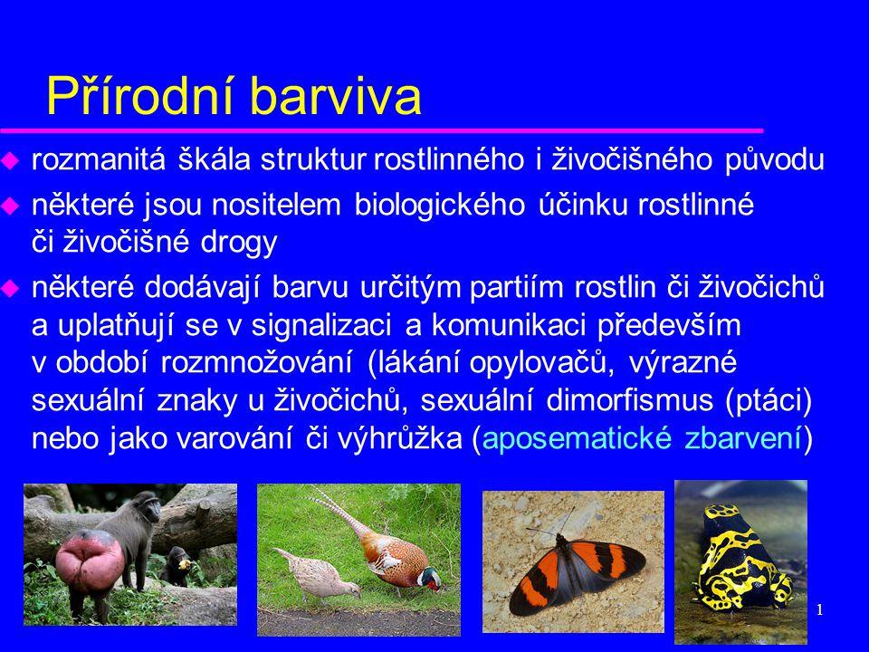 Přírodní barviva rozmanitá škála struktur rostlinného i živočišného původu. některé jsou nositelem biologického účinku rostlinné či živočišné drogy.