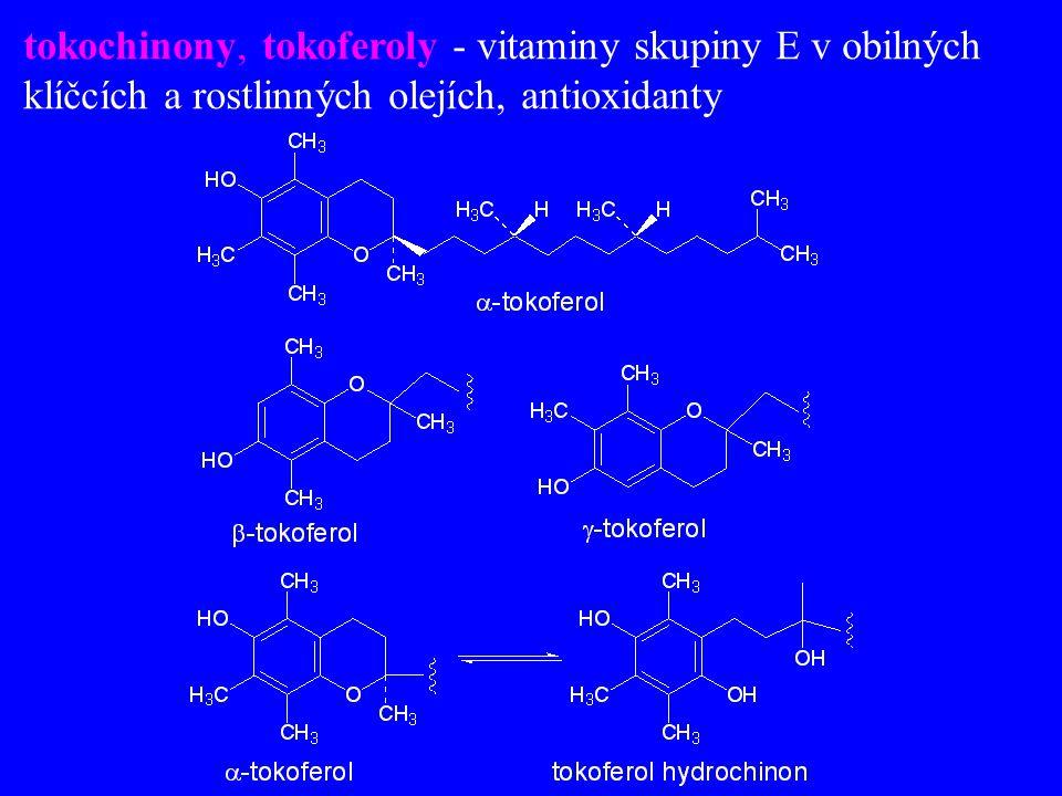 tokochinony, tokoferoly - vitaminy skupiny E v obilných klíčcích a rostlinných olejích, antioxidanty