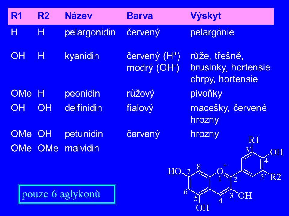 pouze 6 aglykonů R1 R2 Název Barva Výskyt H pelargonidin červený