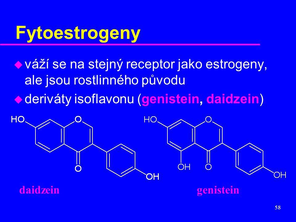 Fytoestrogeny váží se na stejný receptor jako estrogeny, ale jsou rostlinného původu. deriváty isoflavonu (genistein, daidzein)