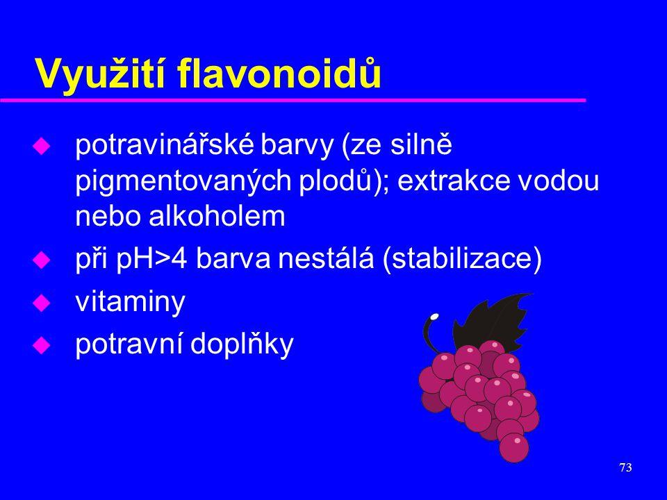 Využití flavonoidů potravinářské barvy (ze silně pigmentovaných plodů); extrakce vodou nebo alkoholem.