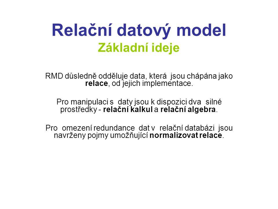 Relační datový model Základní ideje