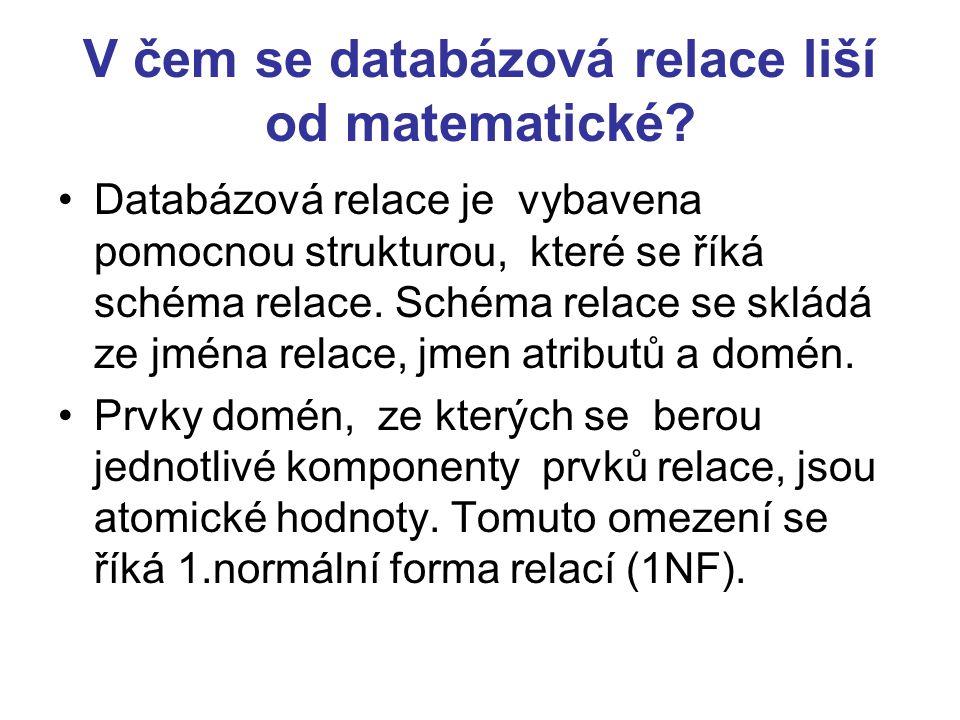 V čem se databázová relace liší od matematické