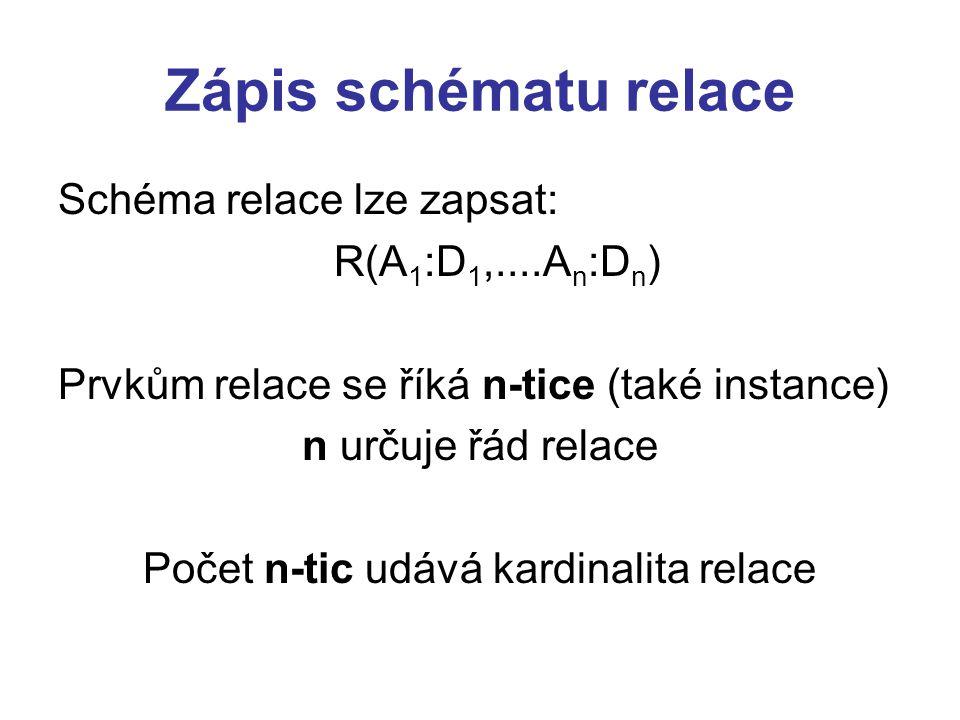 Počet n-tic udává kardinalita relace