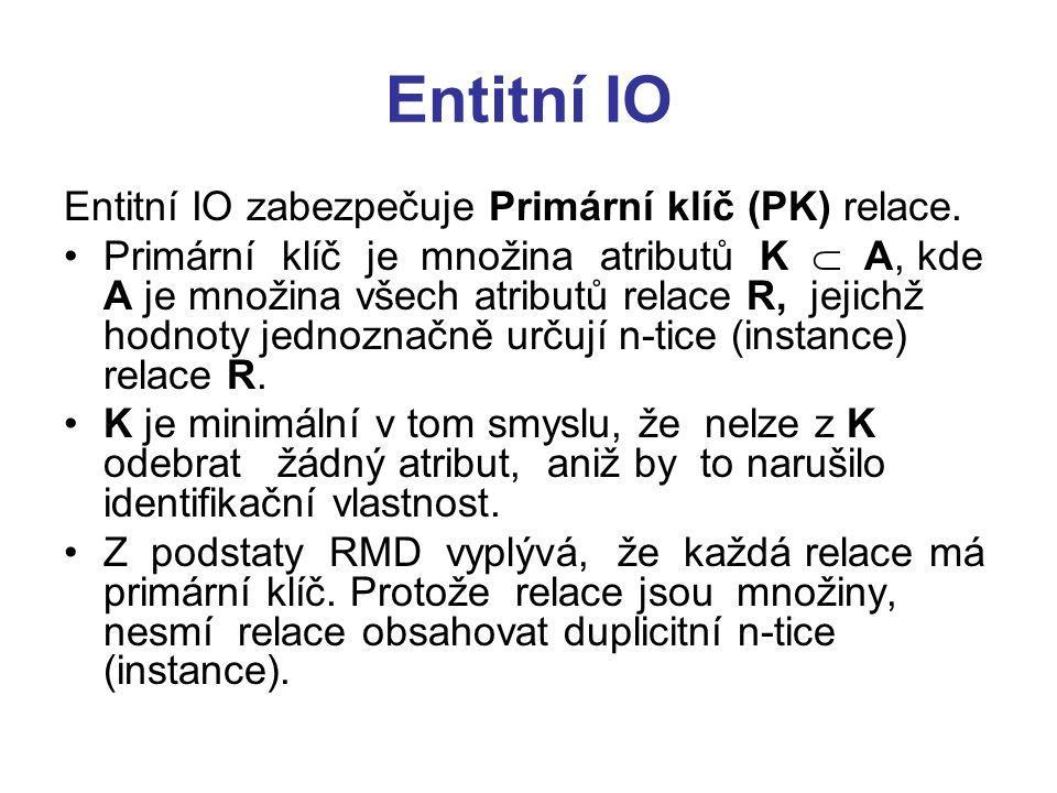 Entitní IO Entitní IO zabezpečuje Primární klíč (PK) relace.