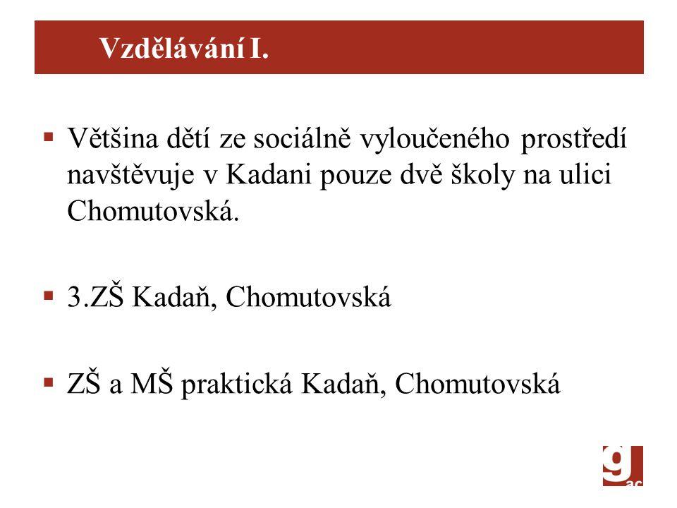 Vzdělávání I. Většina dětí ze sociálně vyloučeného prostředí navštěvuje v Kadani pouze dvě školy na ulici Chomutovská.