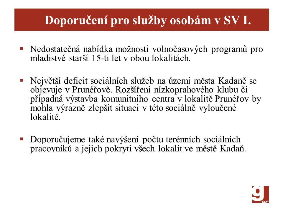 Doporučení pro služby osobám v SV I.