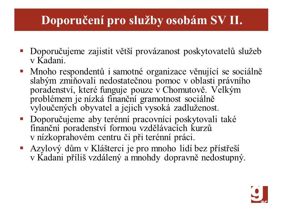 Doporučení pro služby osobám SV II.