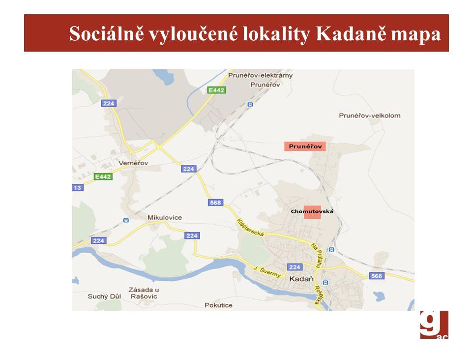 Sociálně vyloučené lokality Kadaně mapa