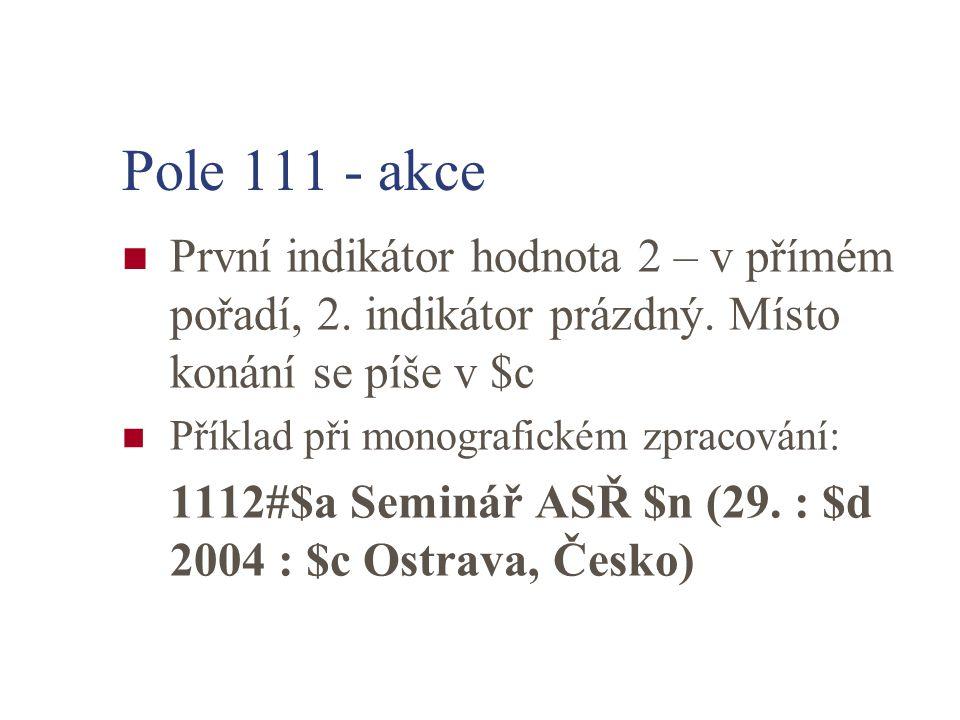 Pole 111 - akce První indikátor hodnota 2 – v přímém pořadí, 2. indikátor prázdný. Místo konání se píše v $c.