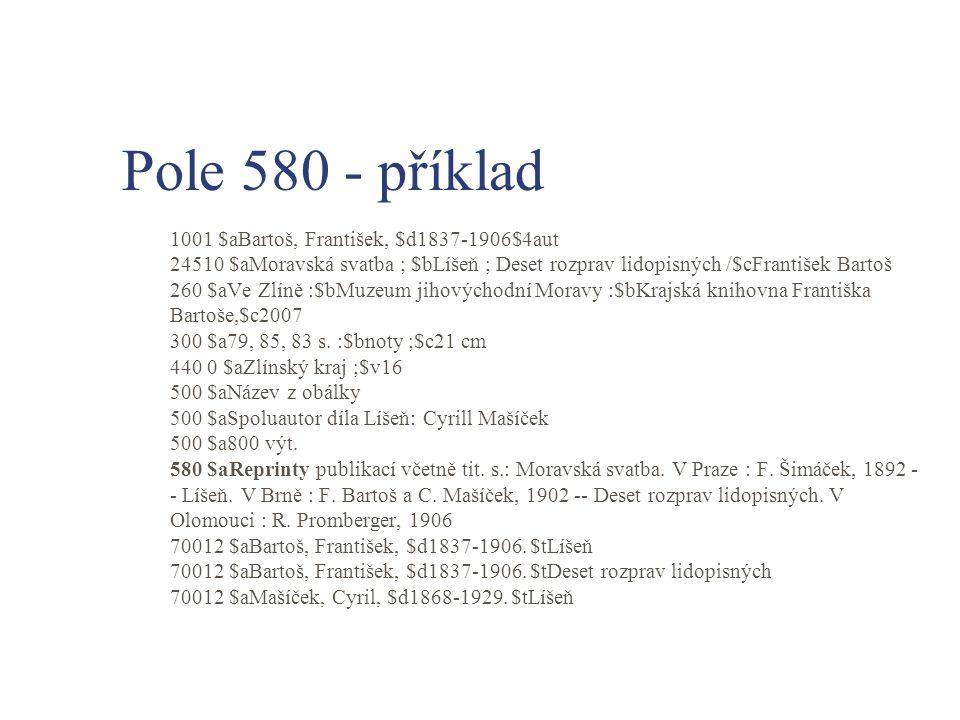 Pole 580 - příklad