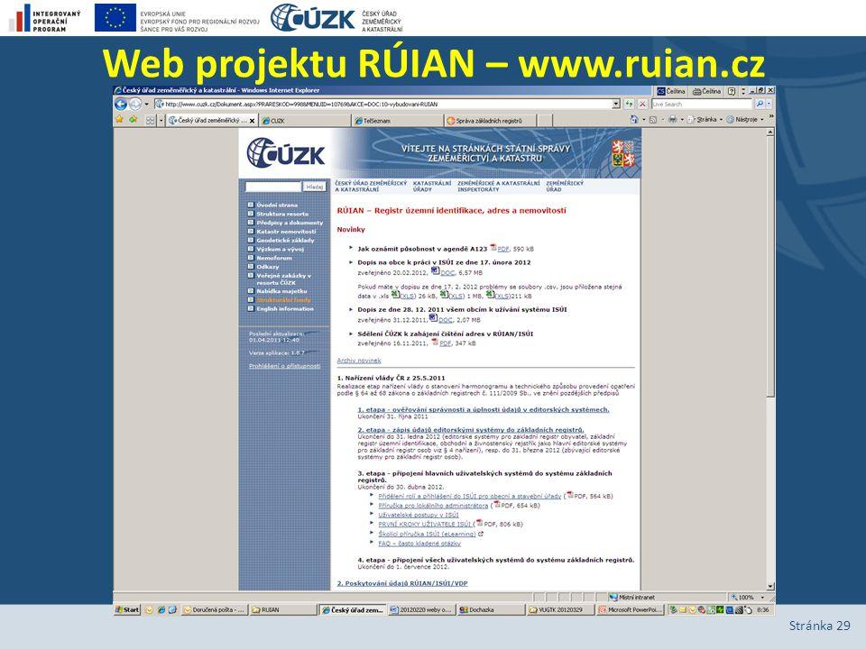 Web projektu RÚIAN – www.ruian.cz