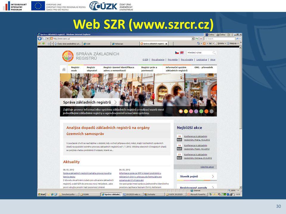 Web SZR (www.szrcr.cz)