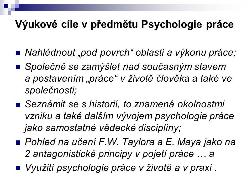 Výukové cíle v předmětu Psychologie práce