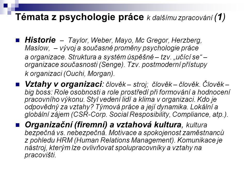 Témata z psychologie práce k dalšímu zpracování (1)