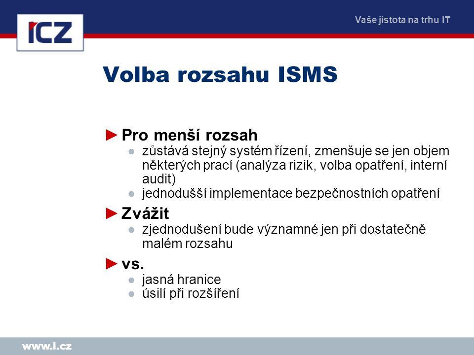 Volba rozsahu ISMS Pro menší rozsah Zvážit vs.