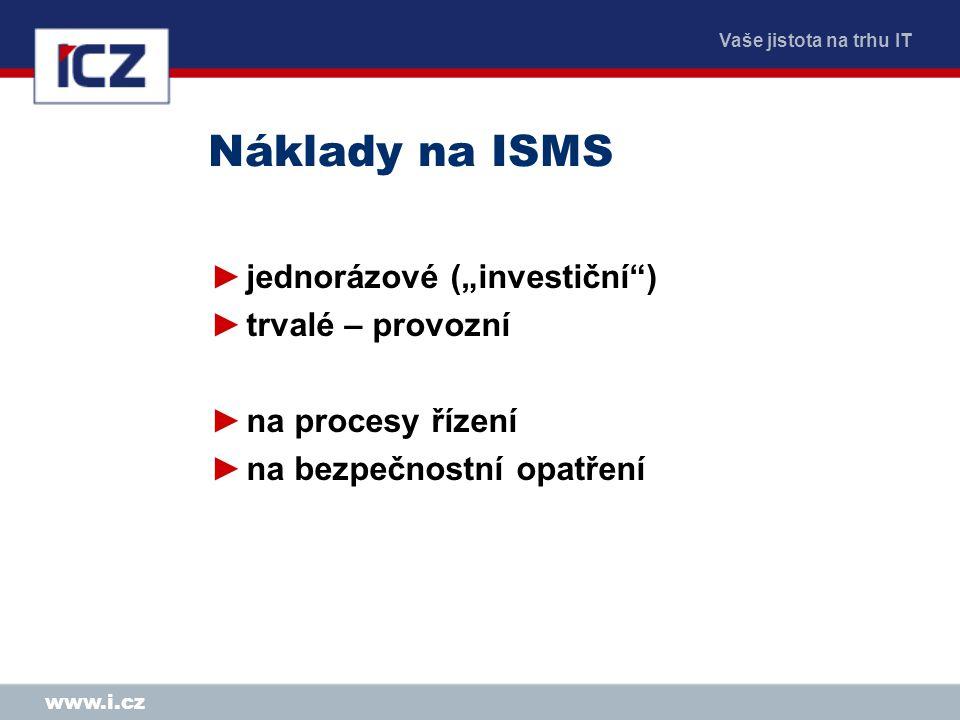 """Náklady na ISMS jednorázové (""""investiční ) trvalé – provozní"""