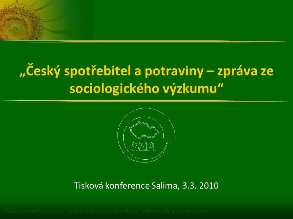 """""""Český spotřebitel a potraviny – zpráva ze sociologického výzkumu"""