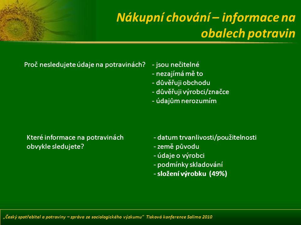 Nákupní chování – informace na obalech potravin