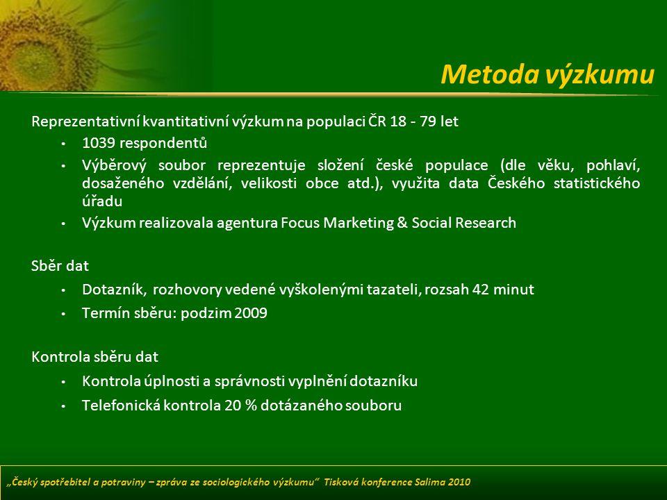 Metoda výzkumu Reprezentativní kvantitativní výzkum na populaci ČR 18 - 79 let. 1039 respondentů.