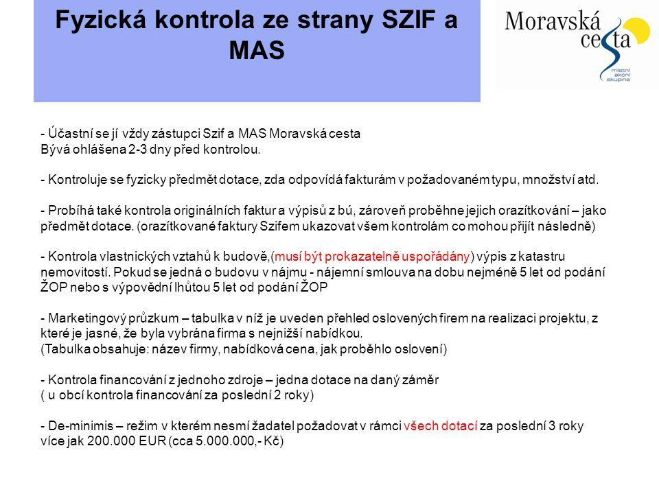 Fyzická kontrola ze strany SZIF a MAS