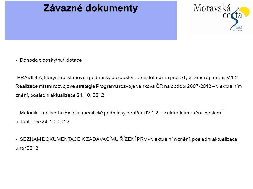 Závazné dokumenty - Dohoda o poskytnutí dotace