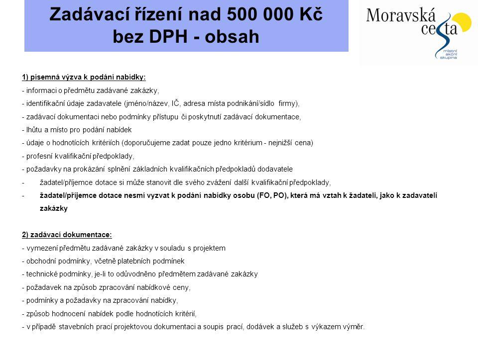 Zadávací řízení nad 500 000 Kč bez DPH - obsah
