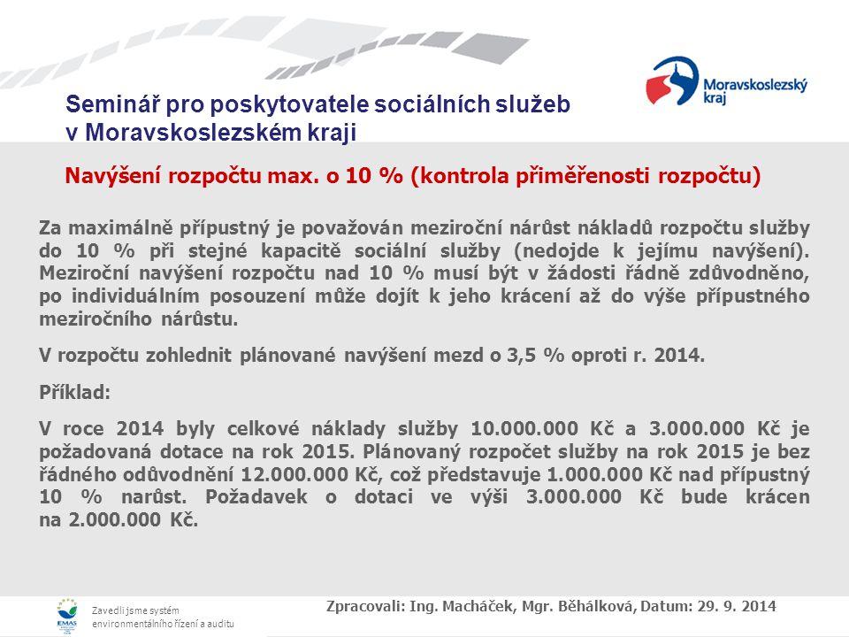 Navýšení rozpočtu max. o 10 % (kontrola přiměřenosti rozpočtu)