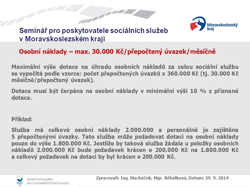 Osobní náklady – max. 30.000 Kč/přepočtený úvazek/měsíčně