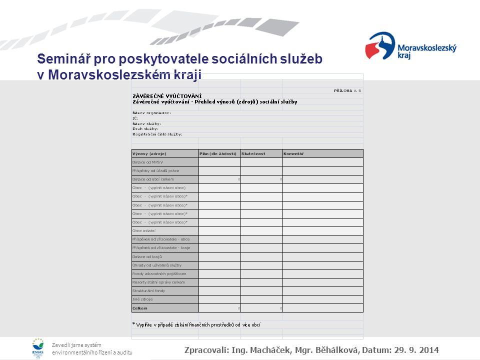 Zpracovali: Ing. Macháček, Mgr. Běhálková, Datum: 29. 9. 2014