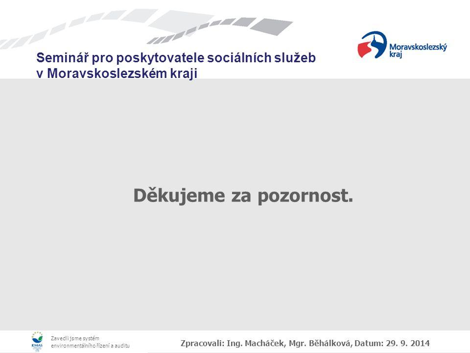 Děkujeme za pozornost. Zpracovali: Ing. Macháček, Mgr. Běhálková, Datum: 29. 9. 2014