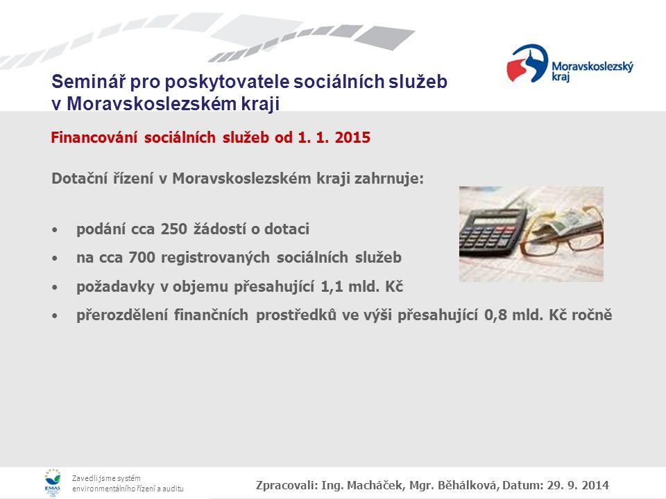 Financování sociálních služeb od 1. 1. 2015