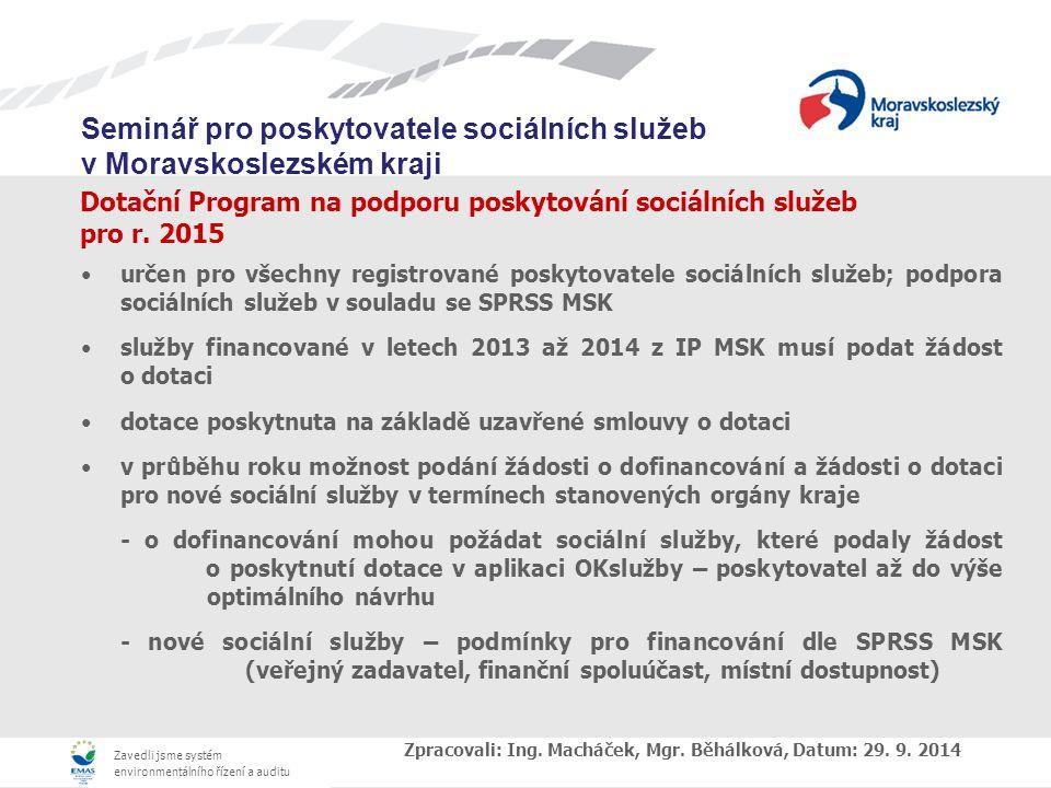 Dotační Program na podporu poskytování sociálních služeb pro r. 2015