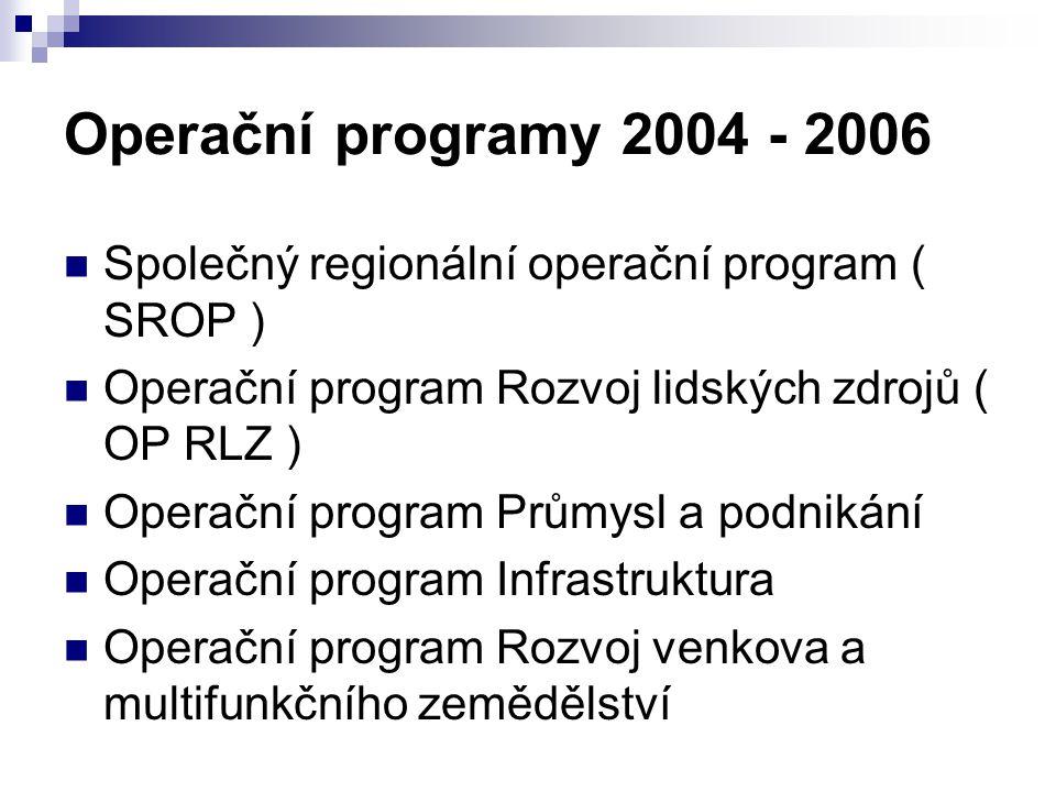 Operační programy 2004 - 2006 Společný regionální operační program ( SROP ) Operační program Rozvoj lidských zdrojů ( OP RLZ )