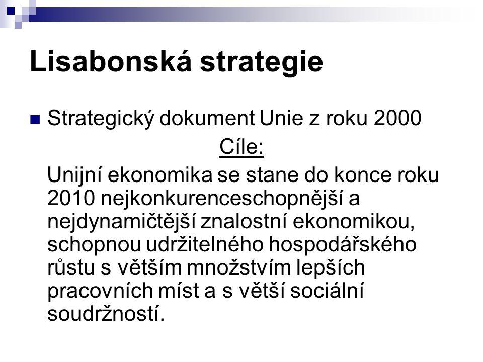 Lisabonská strategie Strategický dokument Unie z roku 2000 Cíle:
