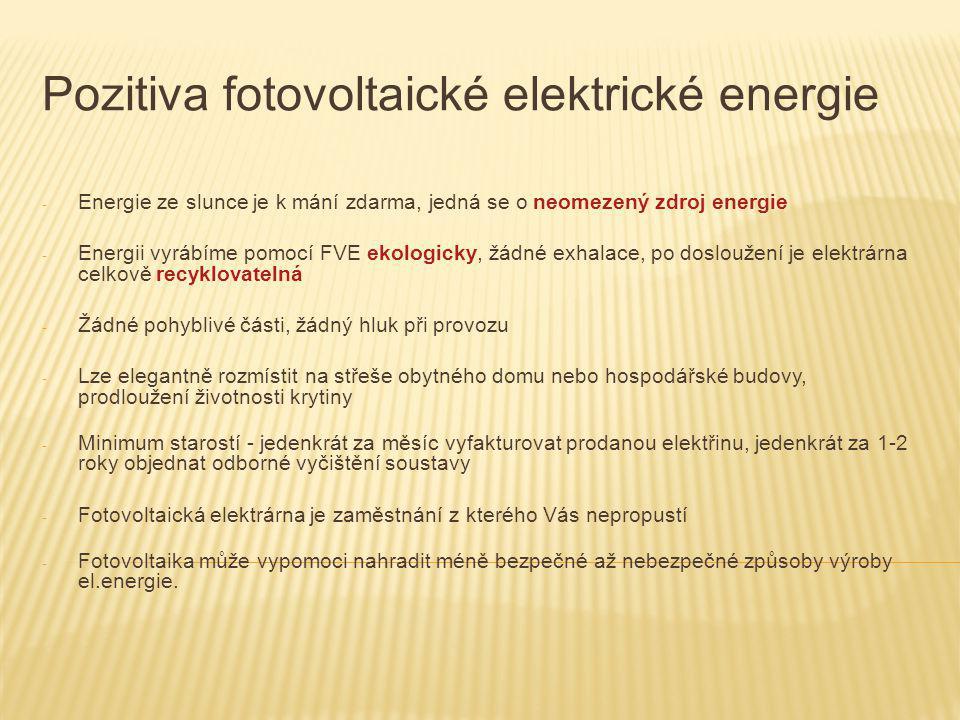 Pozitiva fotovoltaické elektrické energie