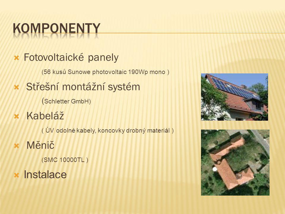 KOMPONENTY Fotovoltaické panely (56 kusů Sunowe photovoltaic 190Wp mono ) Střešní montážní systém (Schletter GmbH)