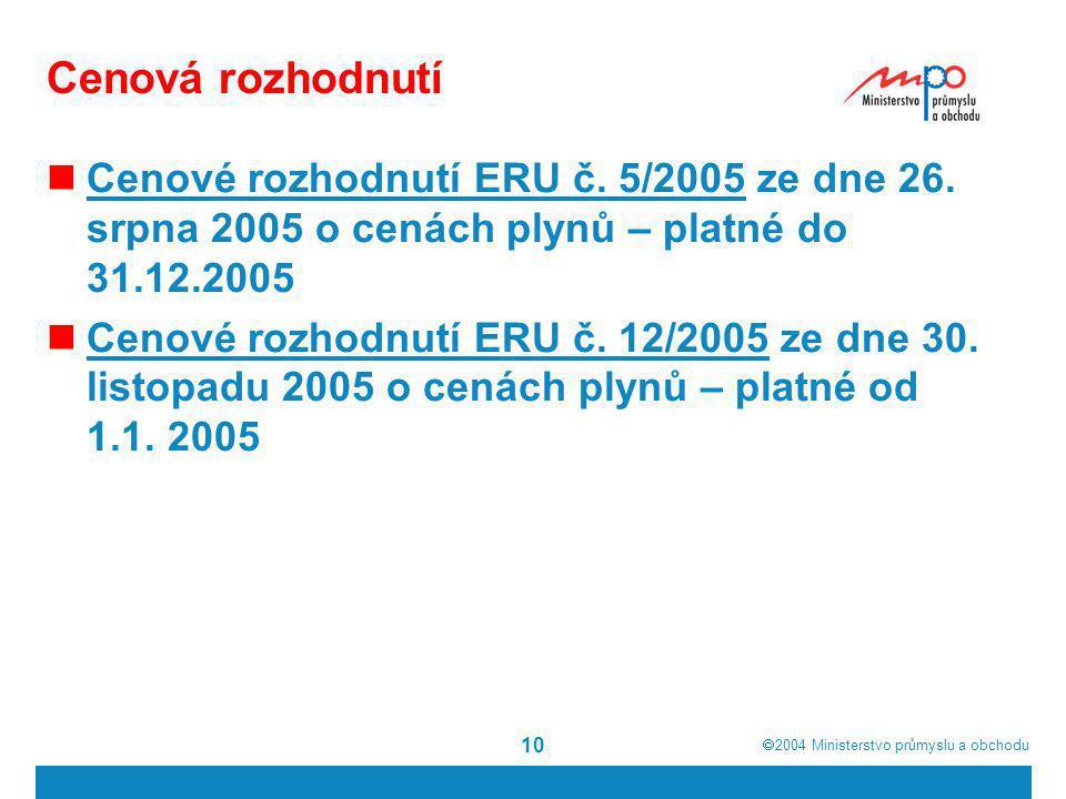 Cenová rozhodnutí Cenové rozhodnutí ERU č. 5/2005 ze dne 26. srpna 2005 o cenách plynů – platné do 31.12.2005.