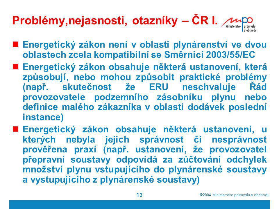 Problémy,nejasnosti, otazníky – ČR I.