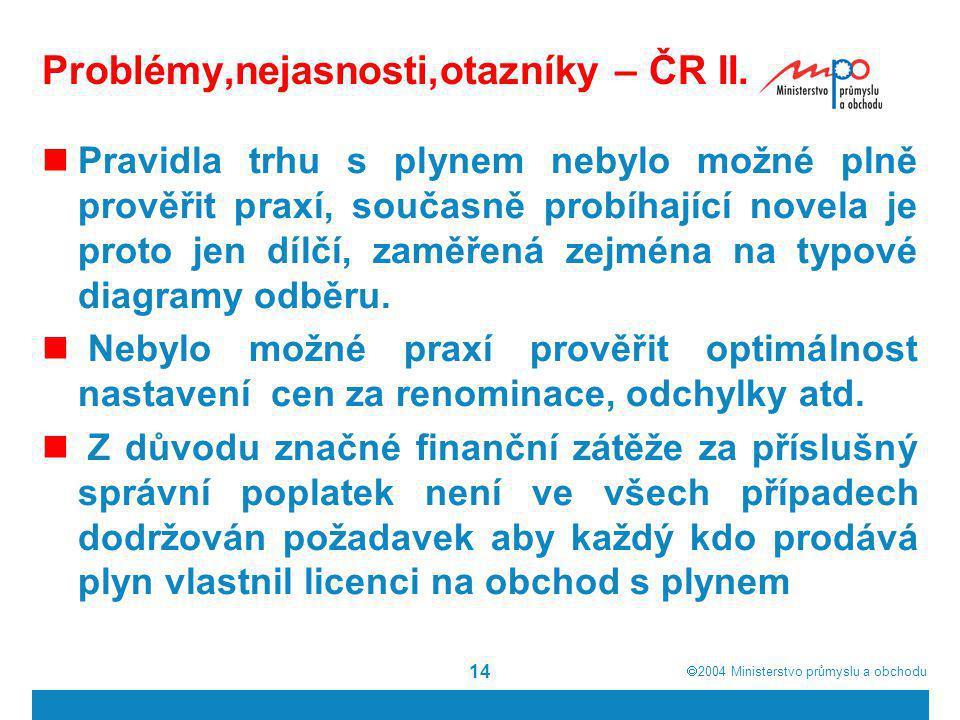 Problémy,nejasnosti,otazníky – ČR II.