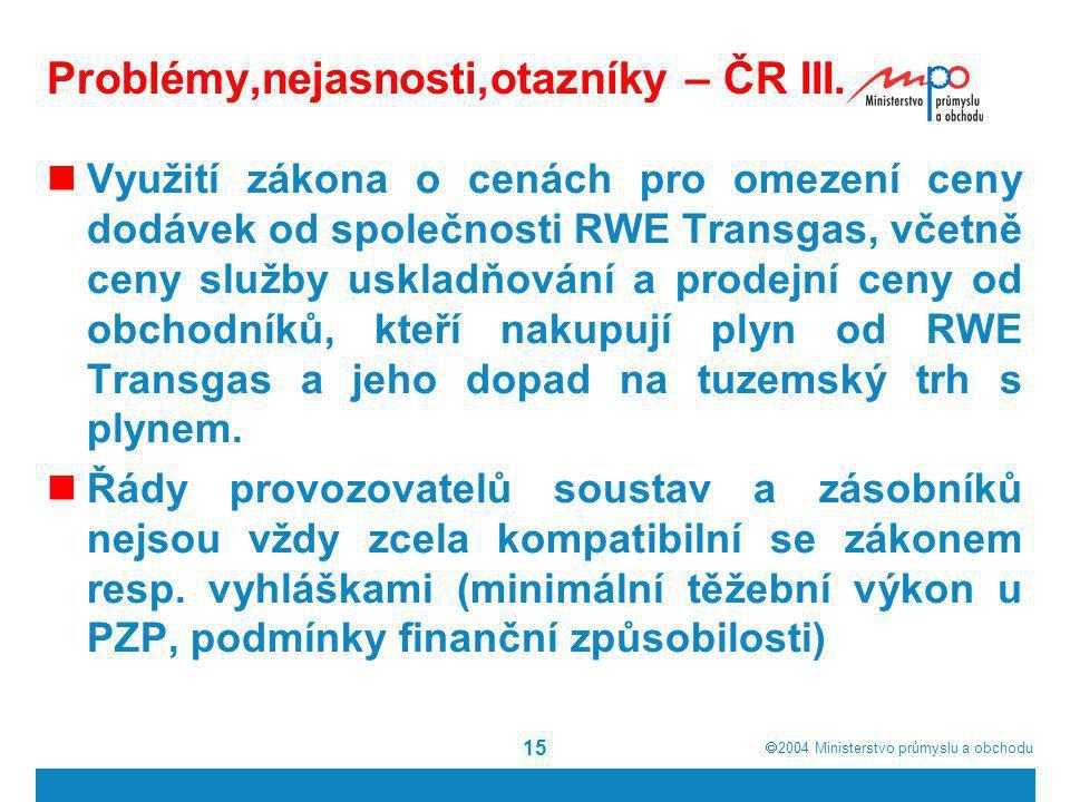 Problémy,nejasnosti,otazníky – ČR III.